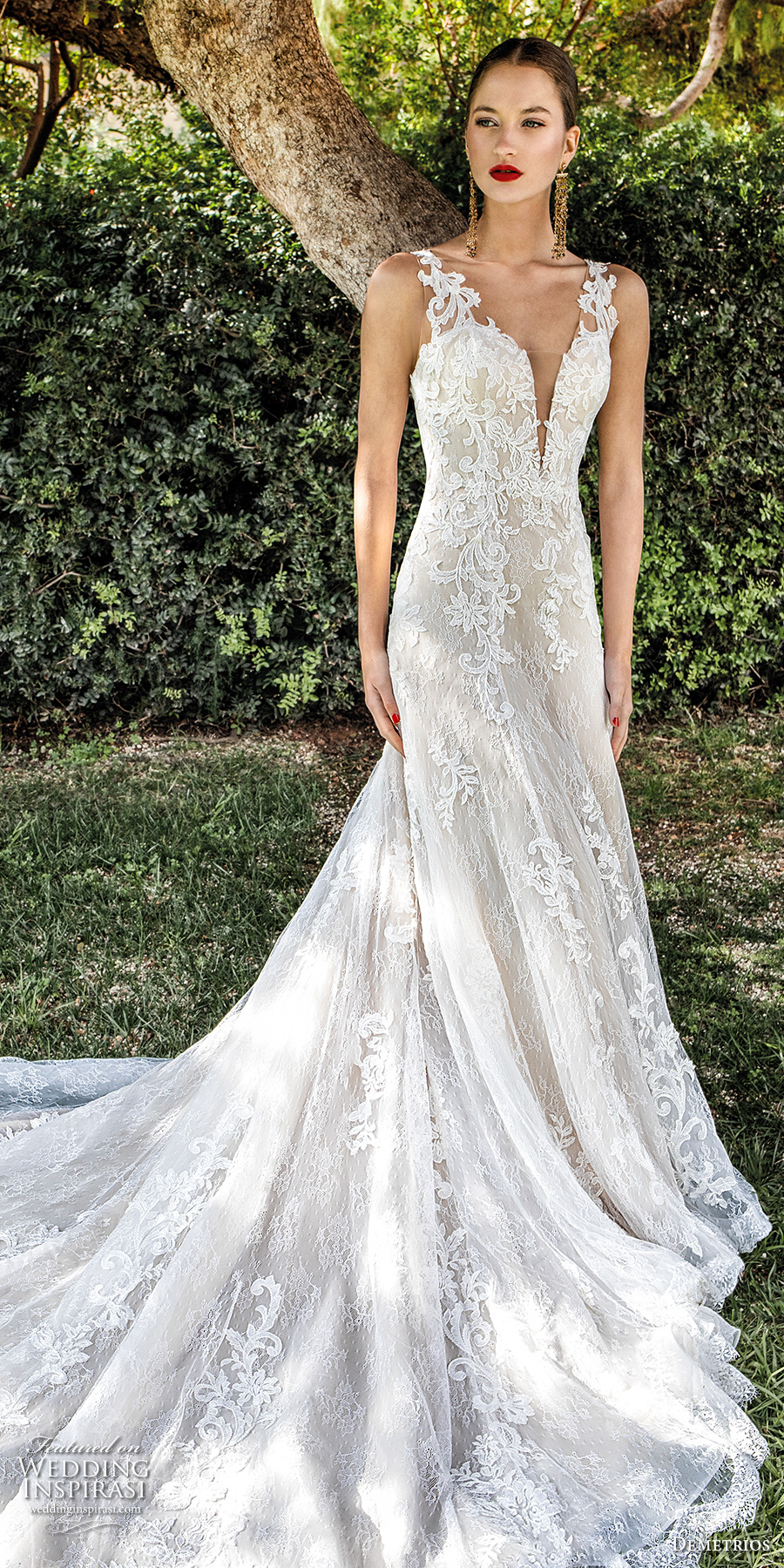 demetrios 2020 bridal sleeveless with strap deep plunging sweetheart neckline heavily embellished bodice elegant a  line wedding dress backless scoop back chapel train (11) lv