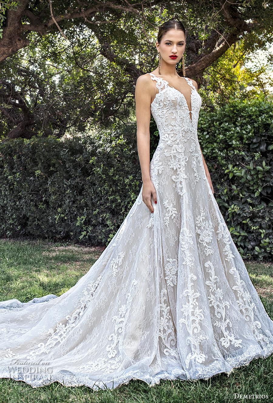 demetrios 2020 bridal sleeveless with strap deep plunging sweetheart neckline heavily embellished bodice elegant a  line wedding dress backless scoop back chapel train (11) mv