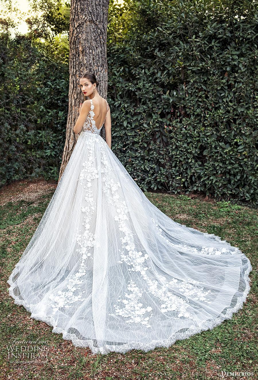 demetrios 2020 bridal sleeveless with strap v neck full embellishment romantic a  line wedding dress backless scoop back chapel train (1) bv