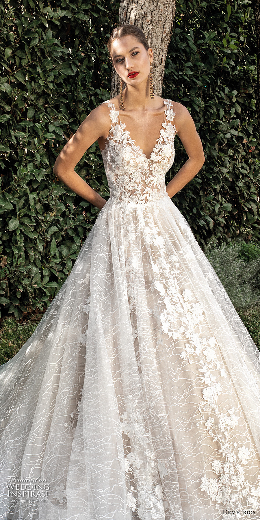 demetrios 2020 bridal sleeveless with strap v neck full embellishment romantic a  line wedding dress backless scoop back chapel train (1) lv