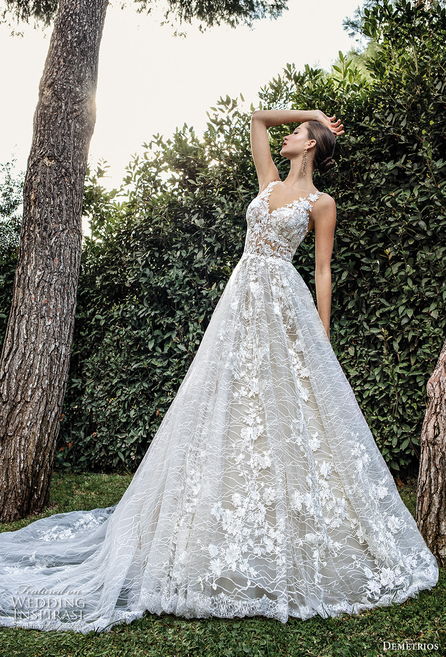 demetrios 2020 bridal sleeveless with strap v neck full embellishment romantic a  line wedding dress backless scoop back chapel train (1) mv