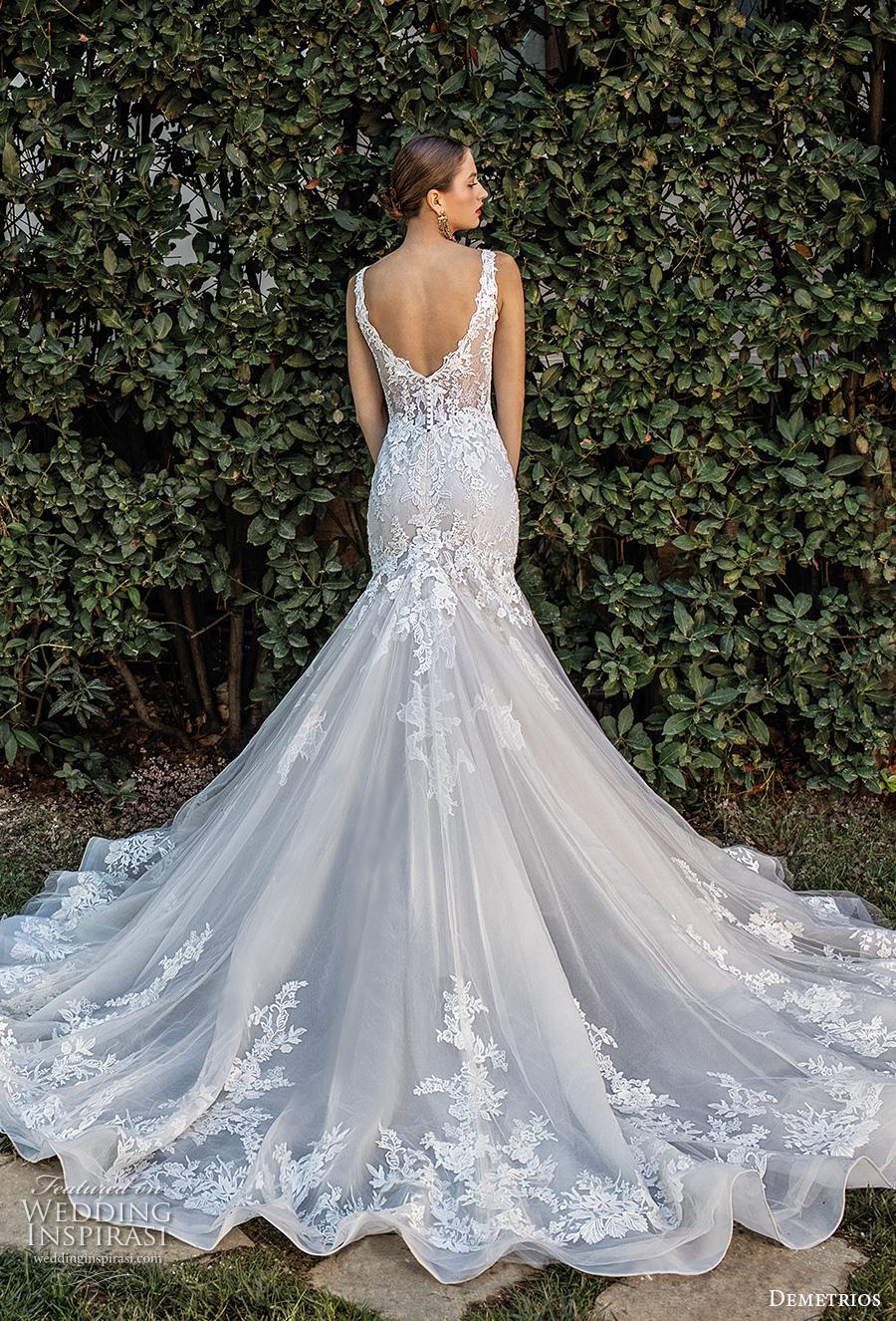 demetrios 2020 bridal sleeveless with strap v neck heavily embellished bodice romantic elegant trumpet wedding dress open v back chapel train (4) bv