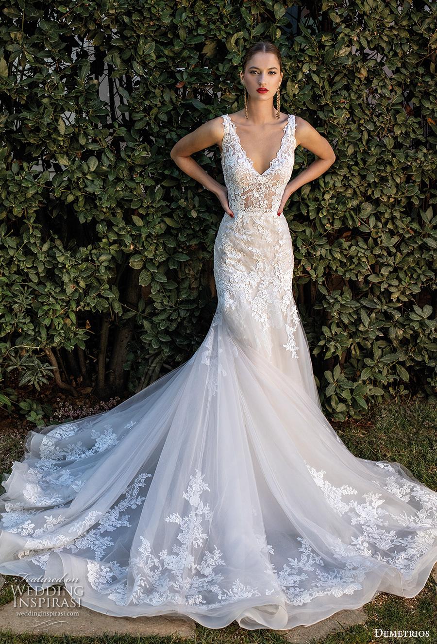 demetrios 2020 bridal sleeveless with strap v neck heavily embellished bodice romantic elegant trumpet wedding dress open v back chapel train (4) mv