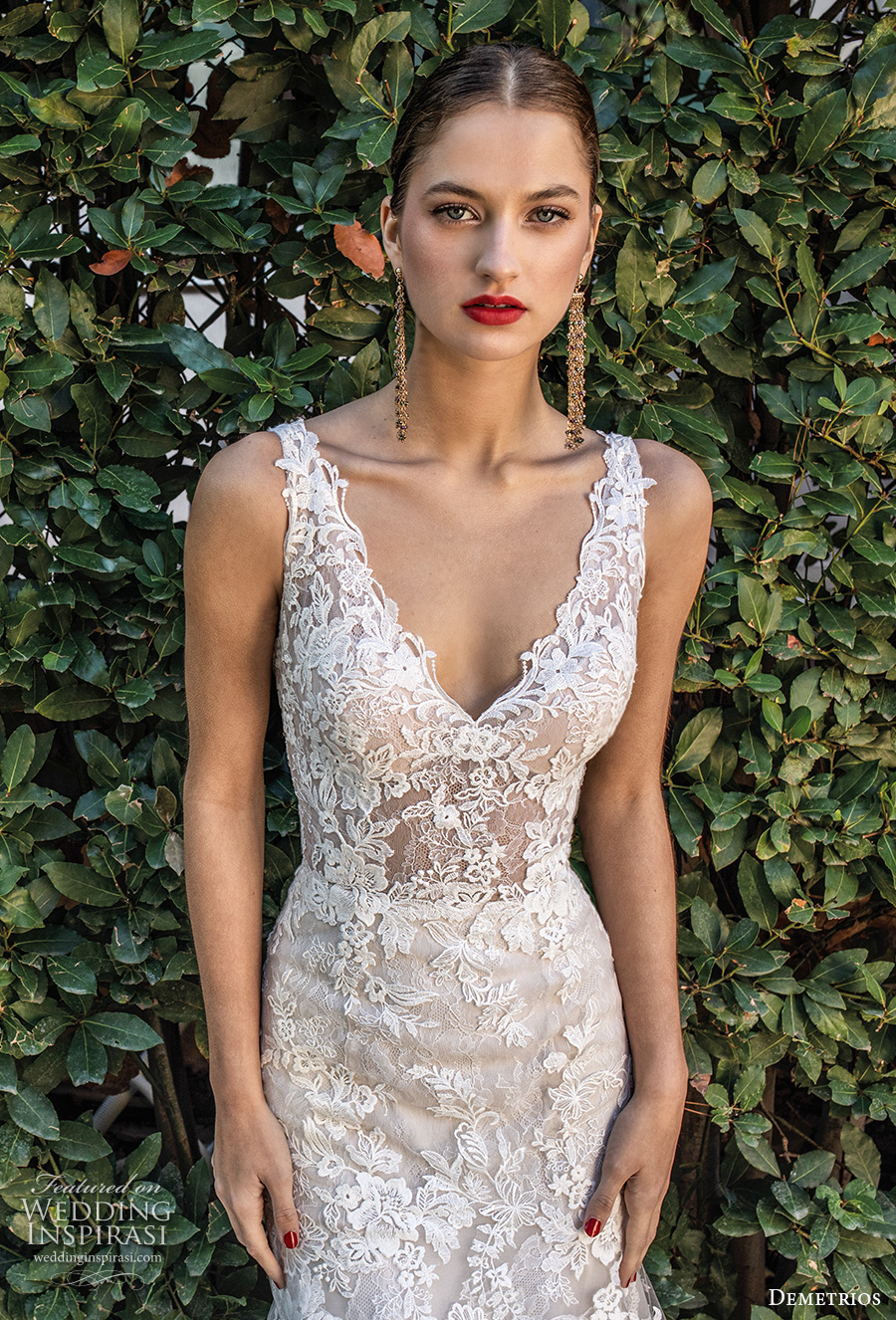 demetrios 2020 bridal sleeveless with strap v neck heavily embellished bodice romantic elegant trumpet wedding dress open v back chapel train (4) zv