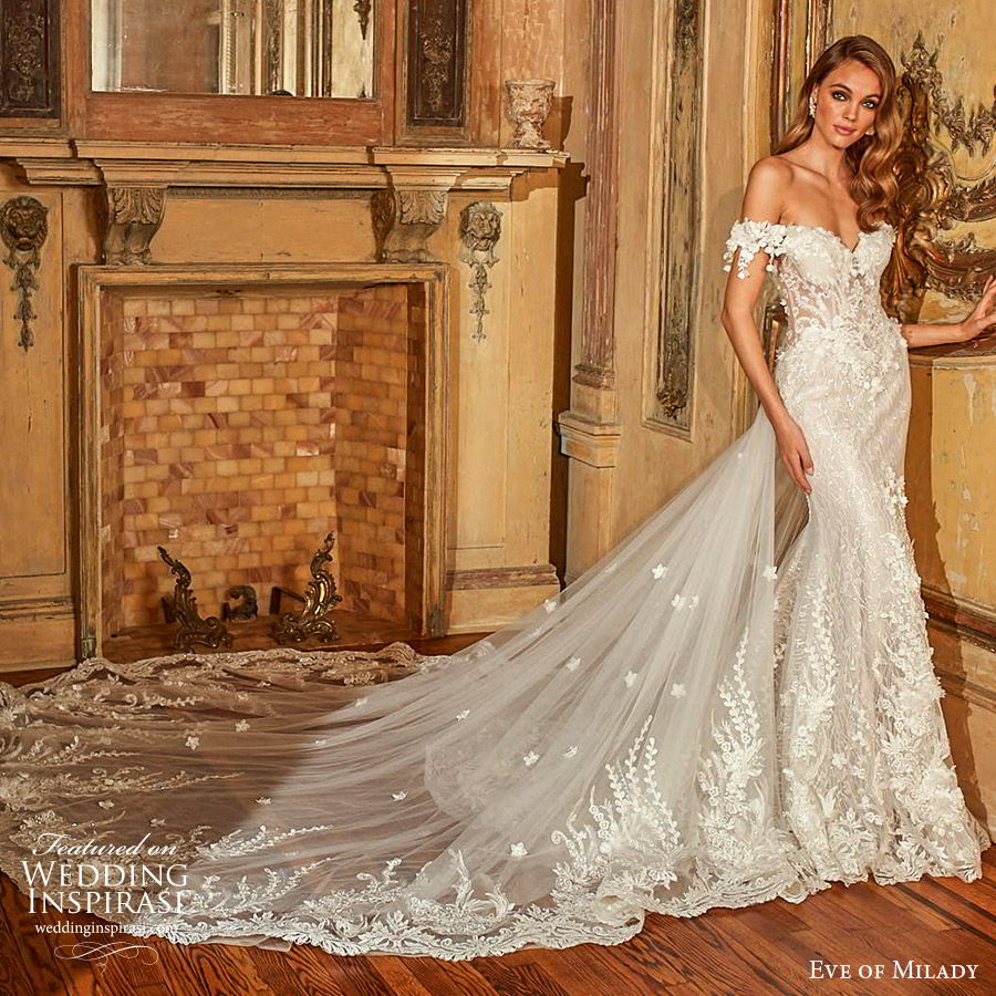 3b5c25177a05 eve of milady fall 2018 bridal off shoulder sweetheart neckline sheat  trumpet mermaid fully embellished lace