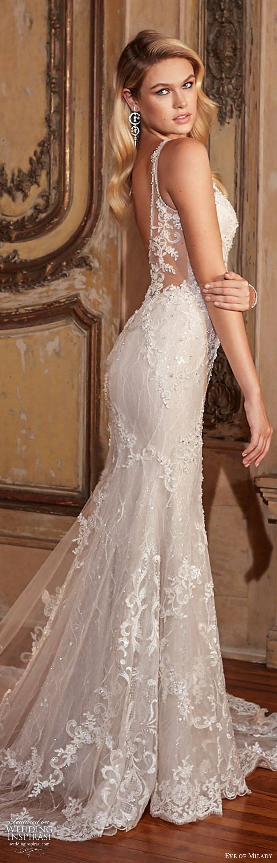 0d0b5f9988f3 eve of milady fall 2018 bridal sleeveless illusion straps deep v neck fully  embellished lace trumpet