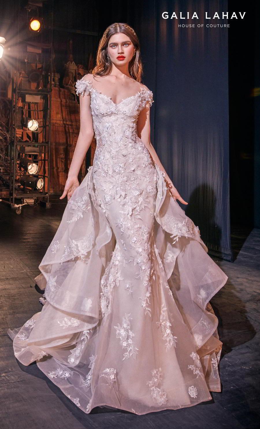 galia lahav s2020 couture bridal cap sleeves illusion bateau sweetheart neckline full embellishment princess romantic mermaid wedding dress a  line overskirt chapel train (martha) mv