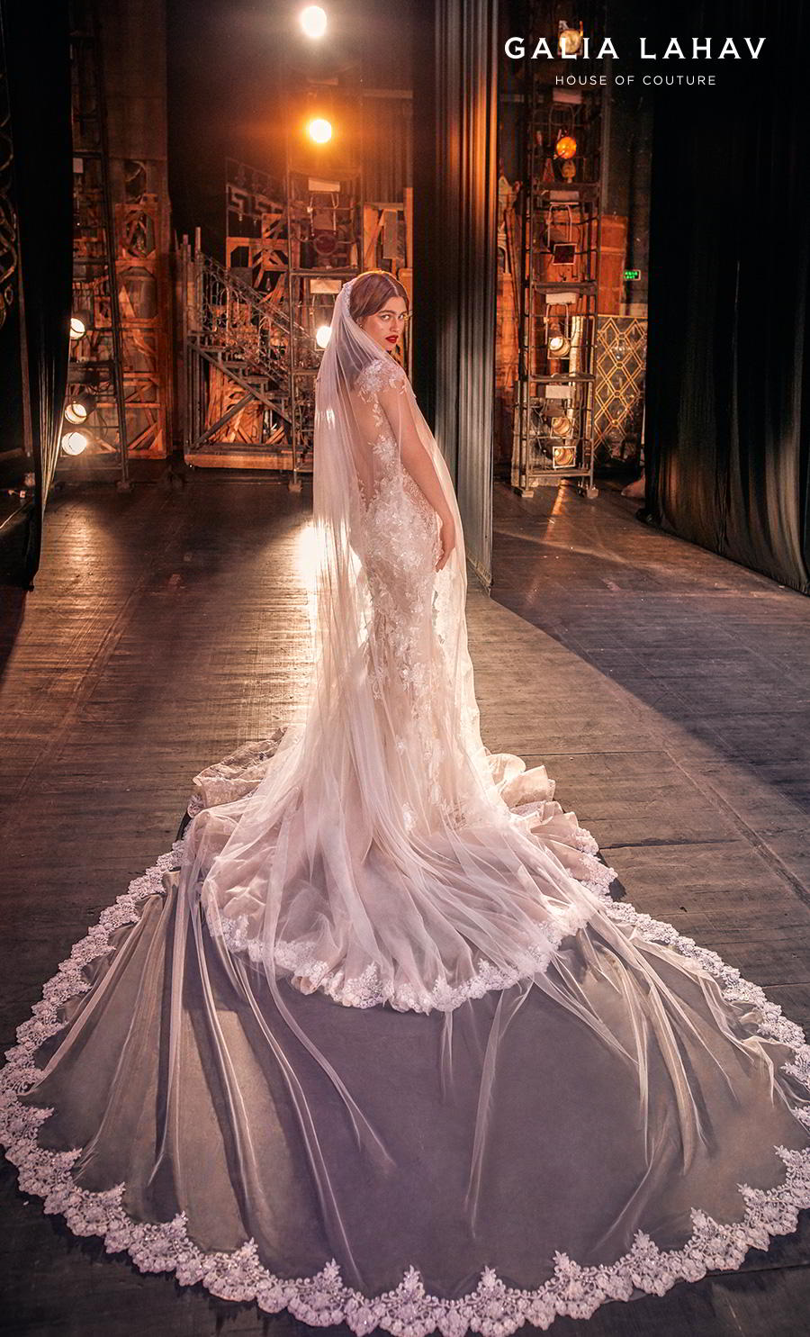 galia lahav s2020 couture bridal cap sleeves illusion bateau sweetheart neckline full embellishment princess romantic mermaid wedding dress chapel train (martha) bv