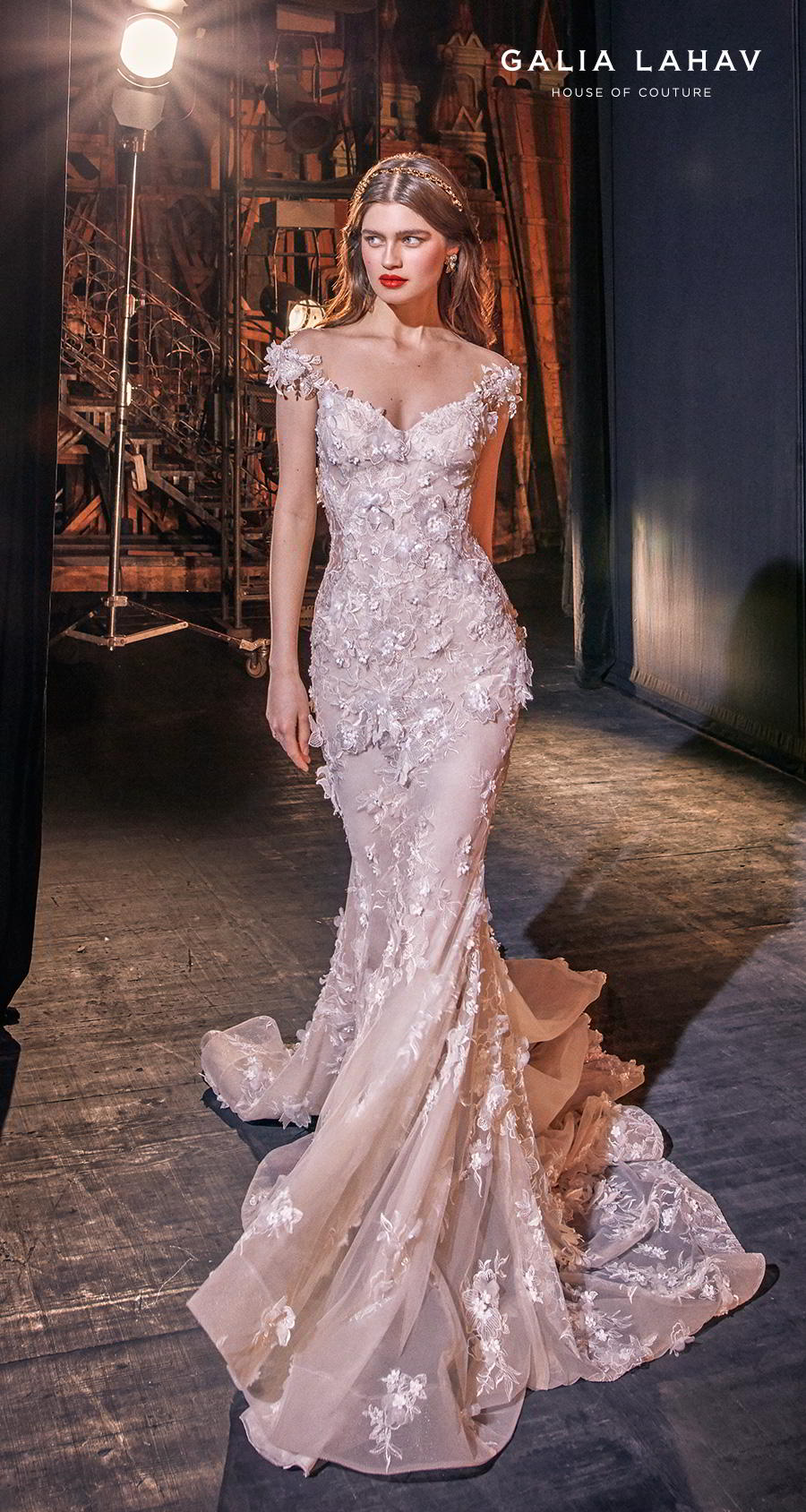 galia lahav s2020 couture bridal cap sleeves illusion bateau sweetheart neckline full embellishment princess romantic mermaid wedding dress chapel train (martha) mv