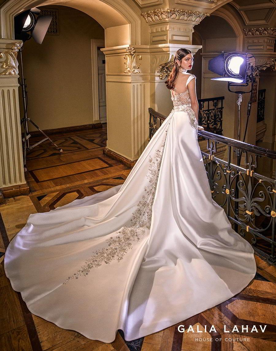 galia lahav s2020 couture bridal cap sleeves illusion high neck sweetheart neckline heavily embellished bustier slit skirt glamorous a  line wedding dress sheer back chapel train (miranda) bv
