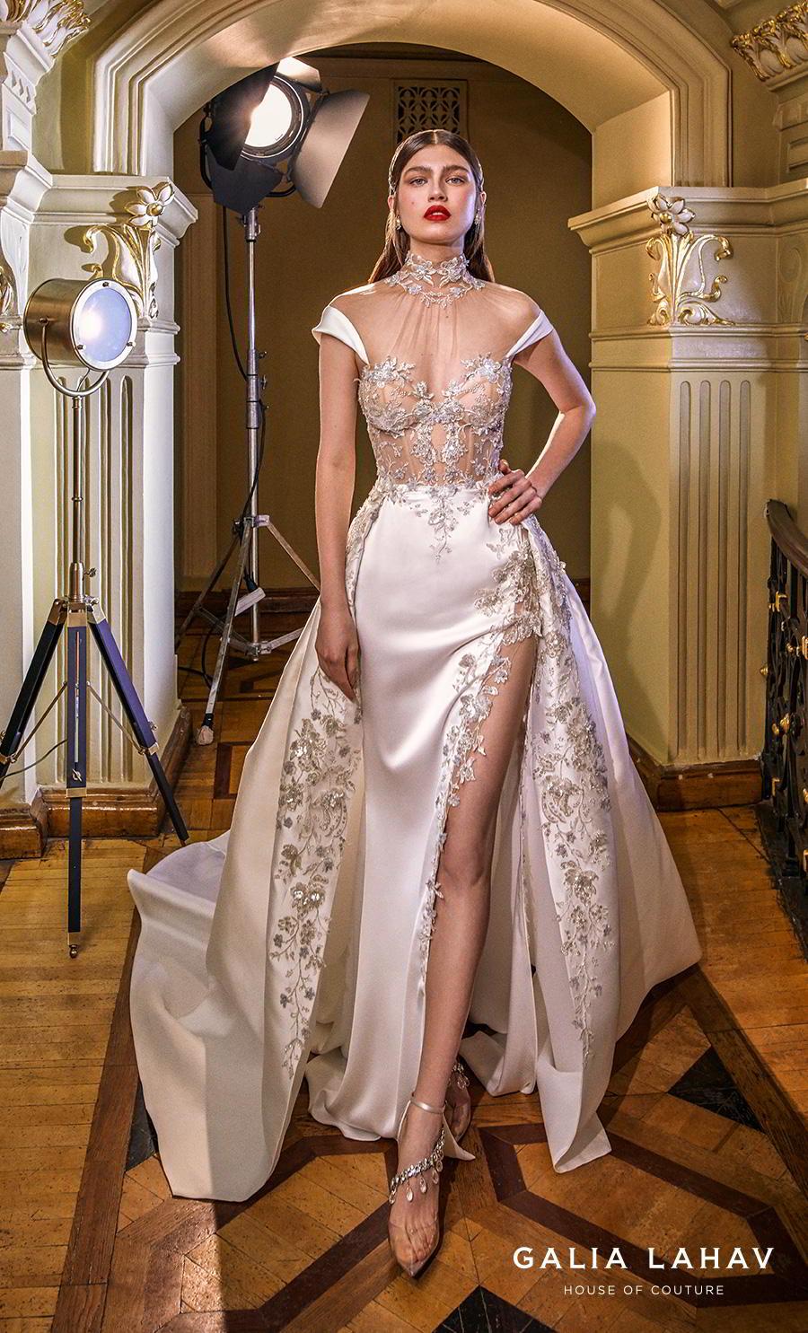 galia lahav s2020 couture bridal cap sleeves illusion high neck sweetheart neckline heavily embellished bustier slit skirt glamorous a  line wedding dress sheer back chapel train (miranda) mv