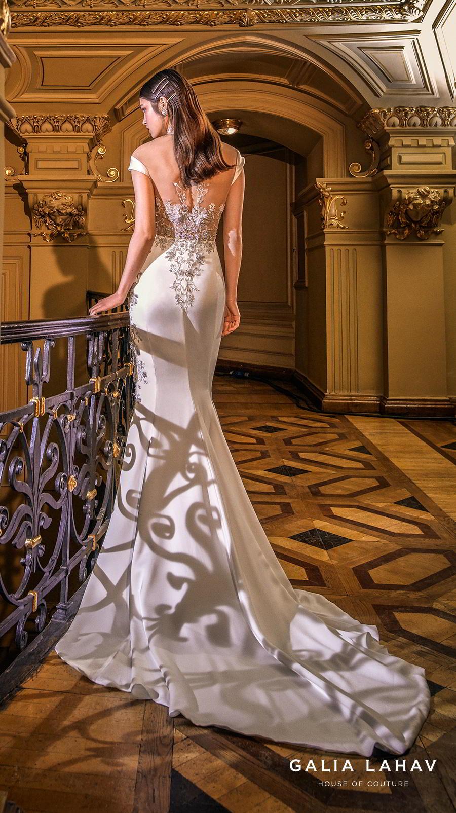 galia lahav s2020 couture bridal cap sleeves illusion high neck sweetheart neckline heavily embellished bustier slit skirt glamorous sheath wedding dress sheer back chapel train (miranda) bv