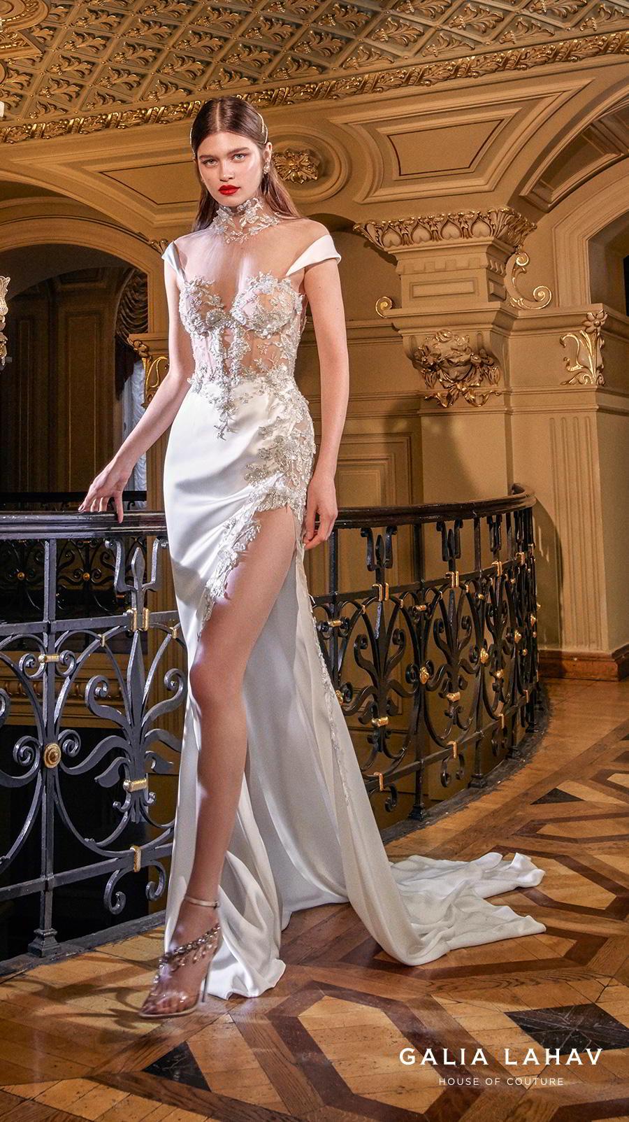 galia lahav s2020 couture bridal cap sleeves illusion high neck sweetheart neckline heavily embellished bustier slit skirt glamorous sheath wedding dress sheer back chapel train (miranda) mv