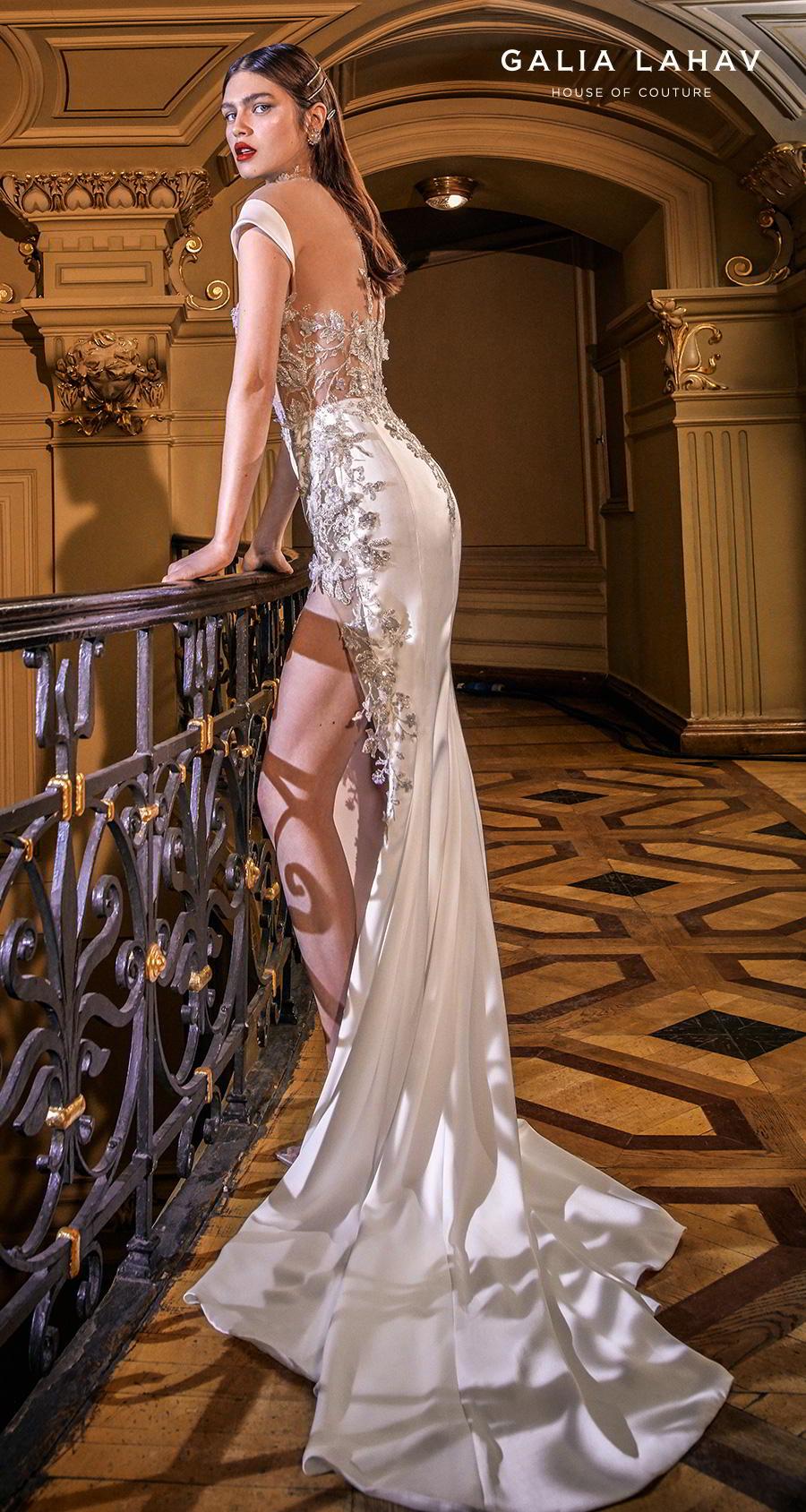 galia lahav s2020 couture bridal cap sleeves illusion high neck sweetheart neckline heavily embellished bustier slit skirt glamorous sheath wedding dress sheer back chapel train (miranda) sdv