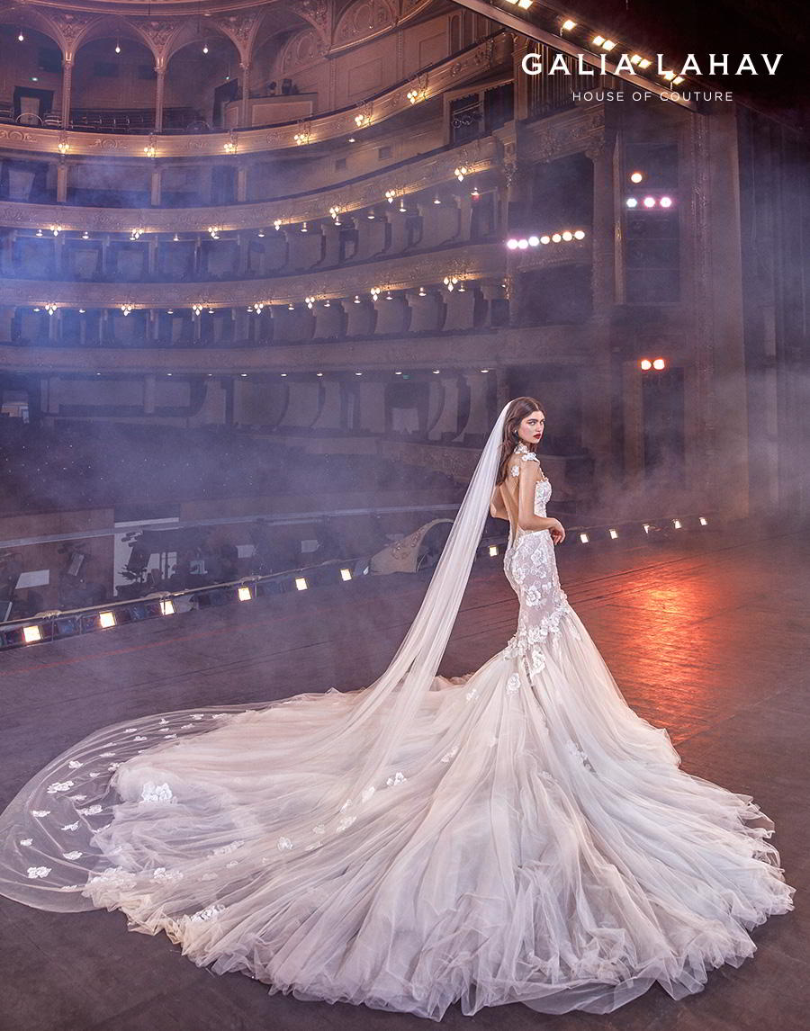 galia lahav s2020 couture bridal cap sleeves illusion jewel sweetheart neckline heavily embellished bodice romantic mermaid wedding dress keyhole low back royal train (michelle) bv