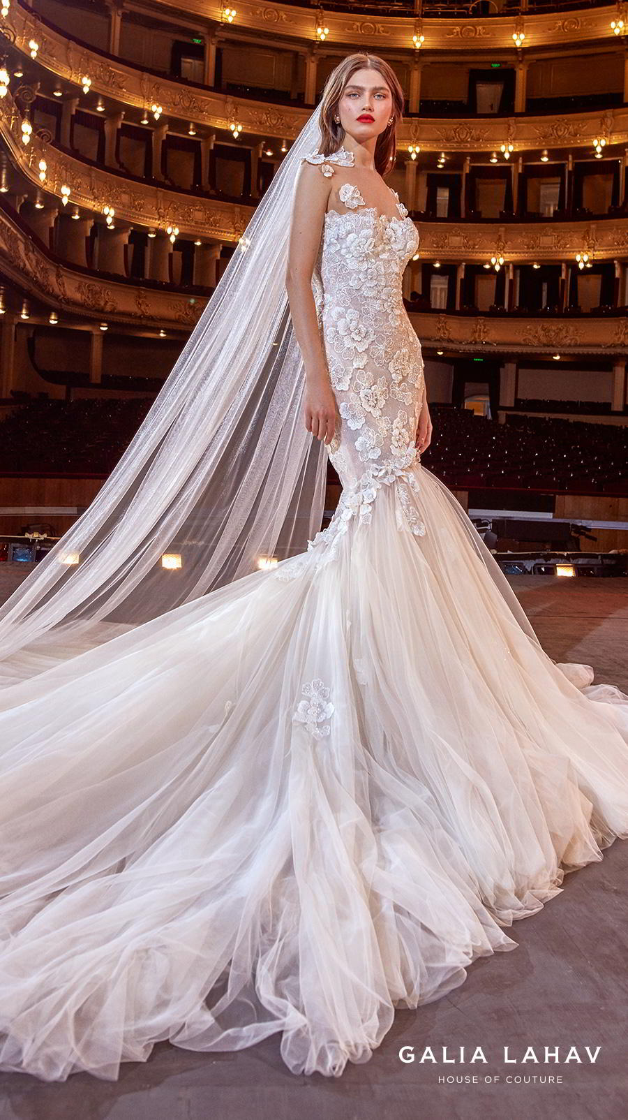 galia lahav s2020 couture bridal cap sleeves illusion jewel sweetheart neckline heavily embellished bodice romantic mermaid wedding dress keyhole low back royal train (michelle) sdv