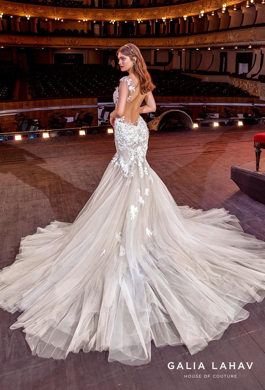 galia lahav s2020 couture bridal cap sleeves sweetheart neckline heavily embellished bodice romantic blush mermaid wedding dress backless low back chapel train (sally) bv