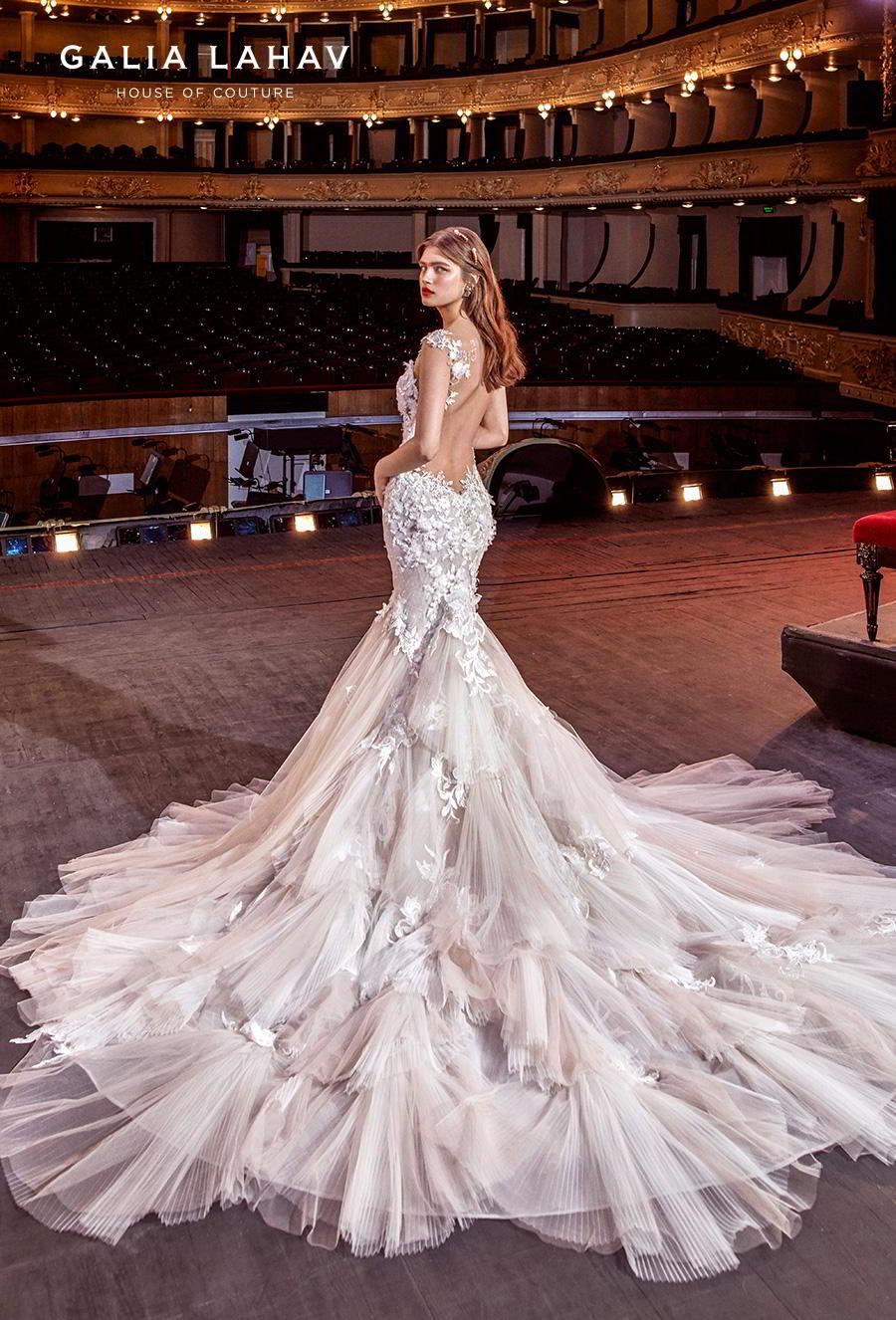 galia lahav s2020 couture bridal cap sleeves sweetheart neckline heavily embellished bodice romantic blush mermaid wedding dress backless low back royal train (sally) bv