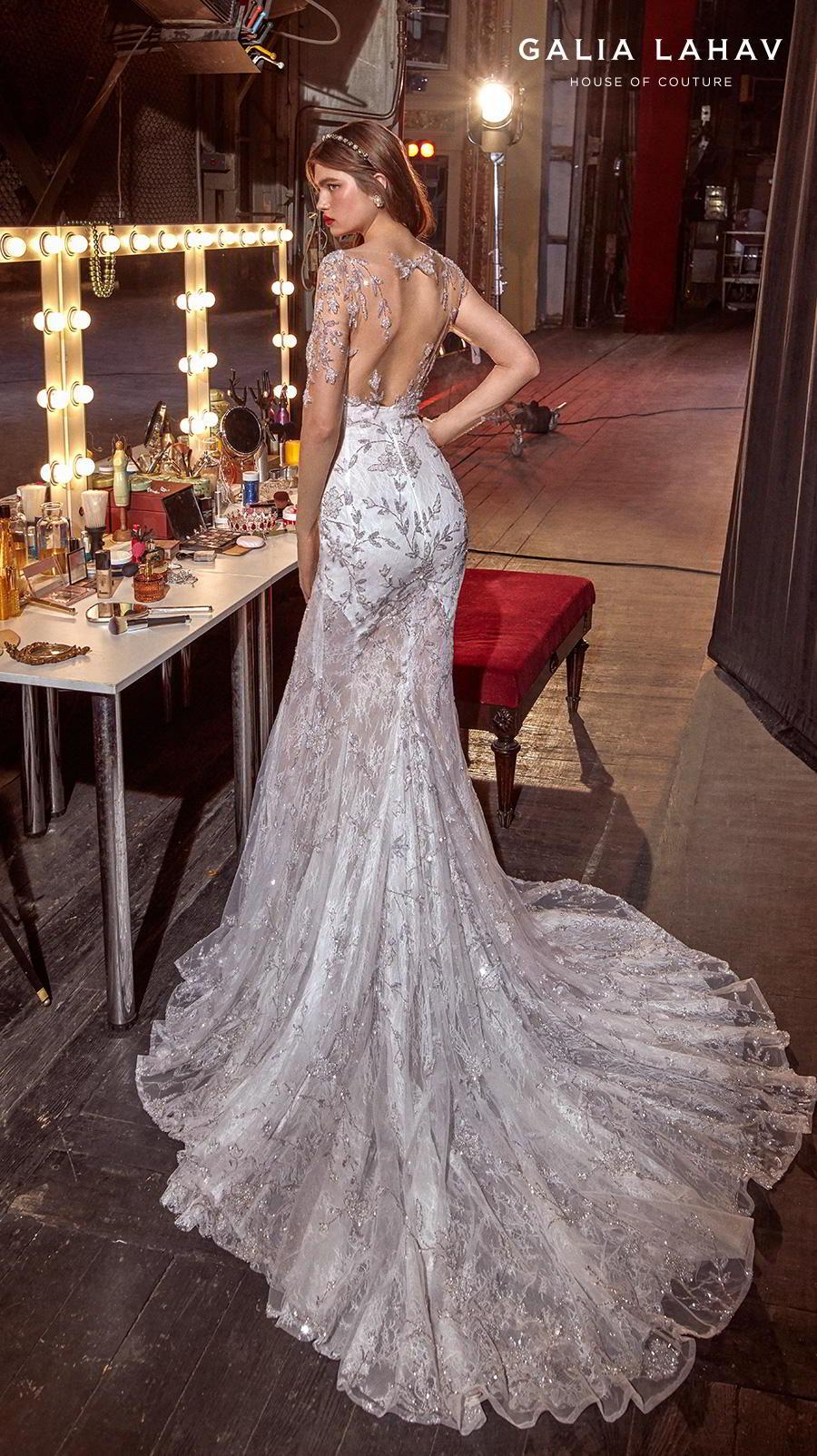 galia lahav s2020 couture bridal long sleeves illusion jewel sweetheart neckline full embelishment glamorous elegant fit and flare sheath wedding dress keyhole back chapel train (brenna) bv