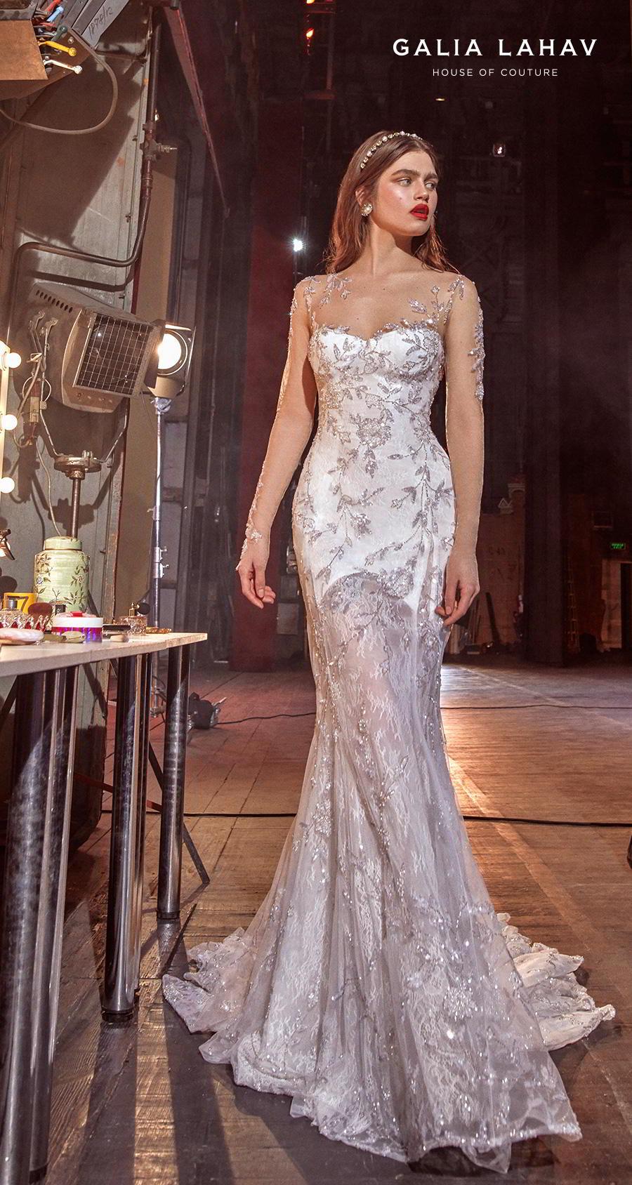 galia lahav s2020 couture bridal long sleeves illusion jewel sweetheart neckline full embelishment glamorous elegant fit and flare sheath wedding dress keyhole back chapel train (brenna) mv