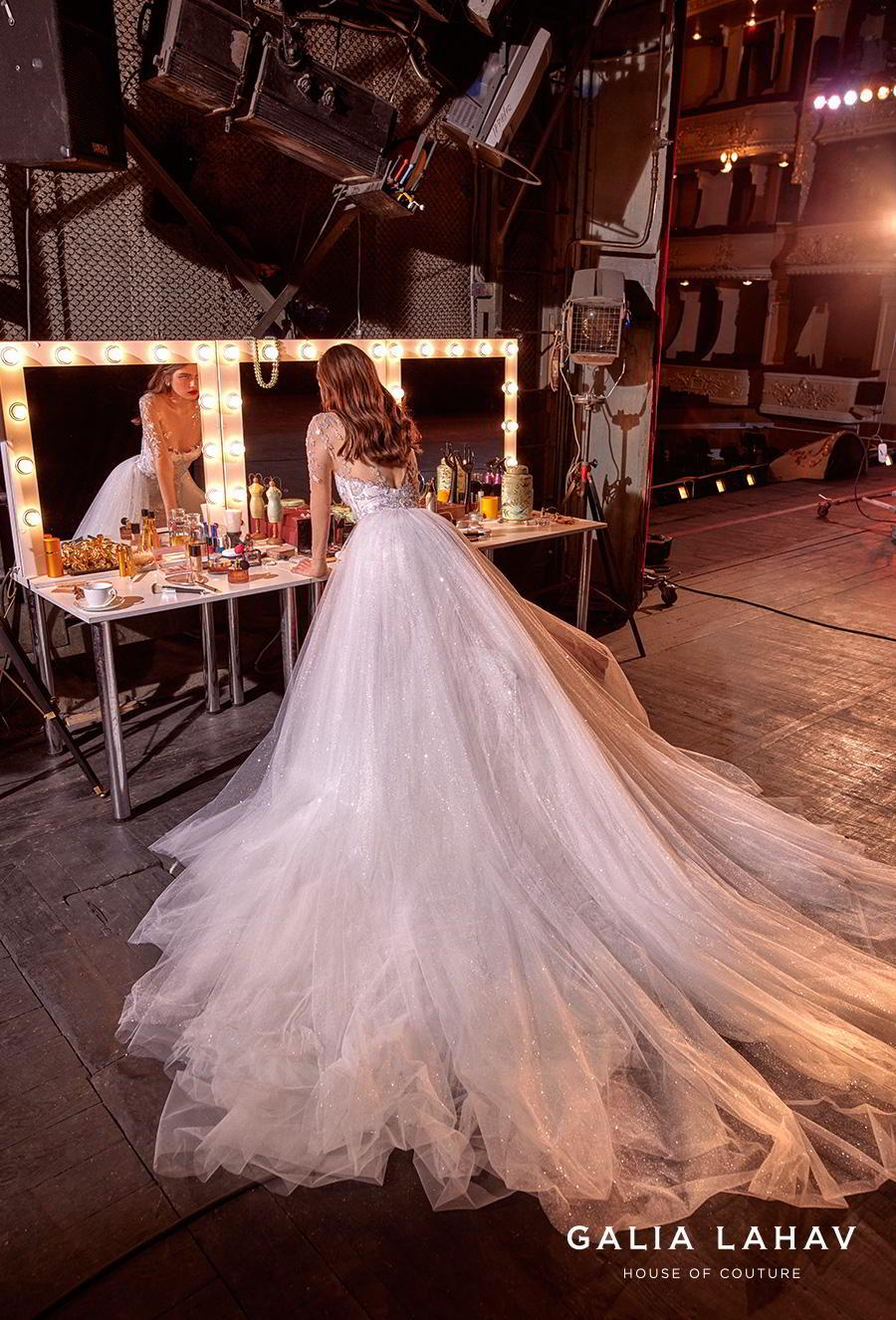 galia lahav s2020 couture bridal long sleeves illusion jewel sweetheart neckline full embelishment romantic princess a  line  wedding dress keyhole back chapel train (brenna) bv