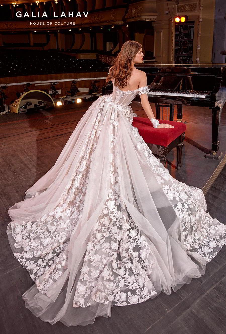 galia lahav s2020 couture bridal off the shoulder sweetheart neckline full embellishment bustier princess ball gown a  line wedding dress mid back chapel train (gaga) bv