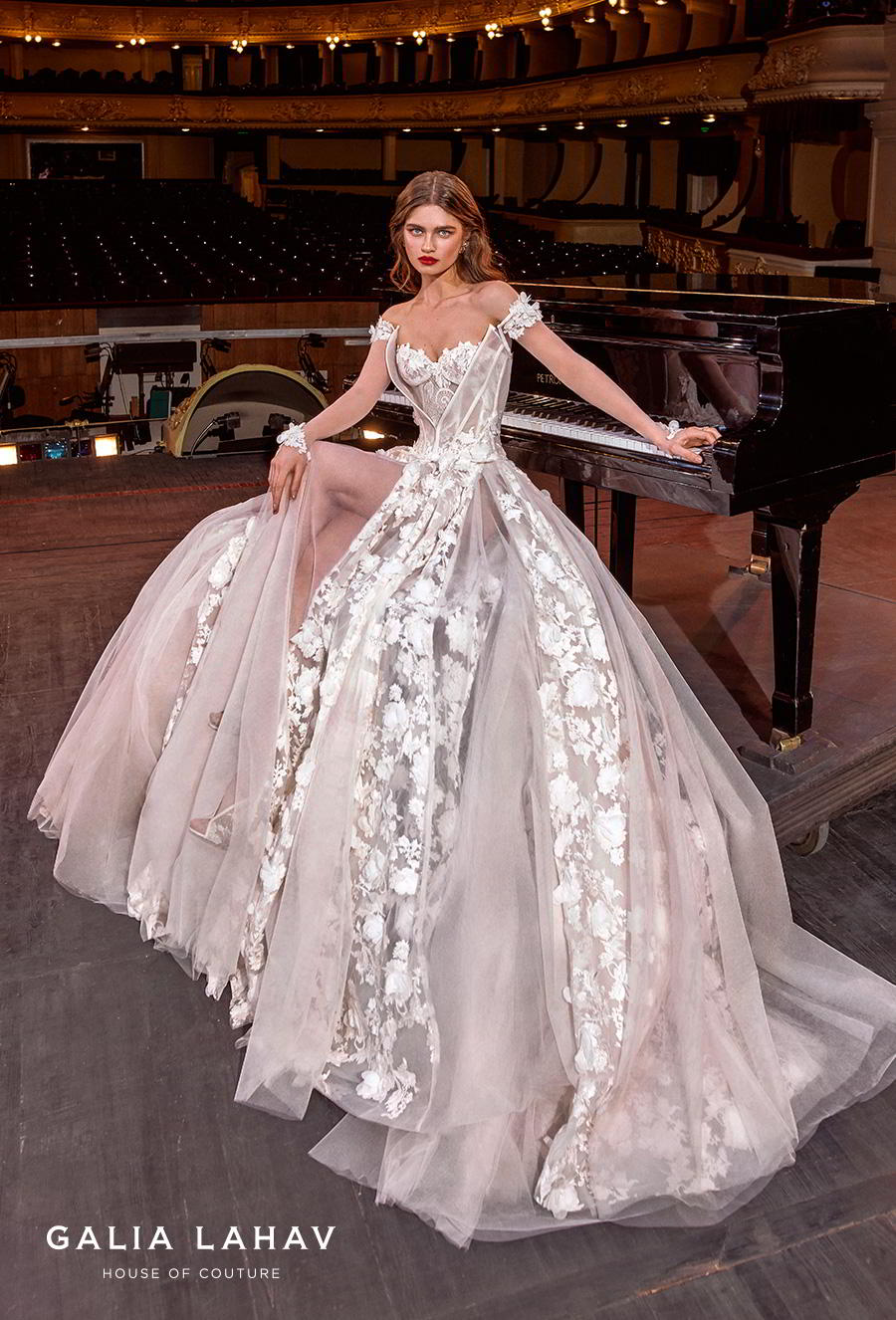 galia lahav s2020 couture bridal off the shoulder sweetheart neckline full embellishment bustier princess ball gown a  line wedding dress mid back chapel train (gaga) mv