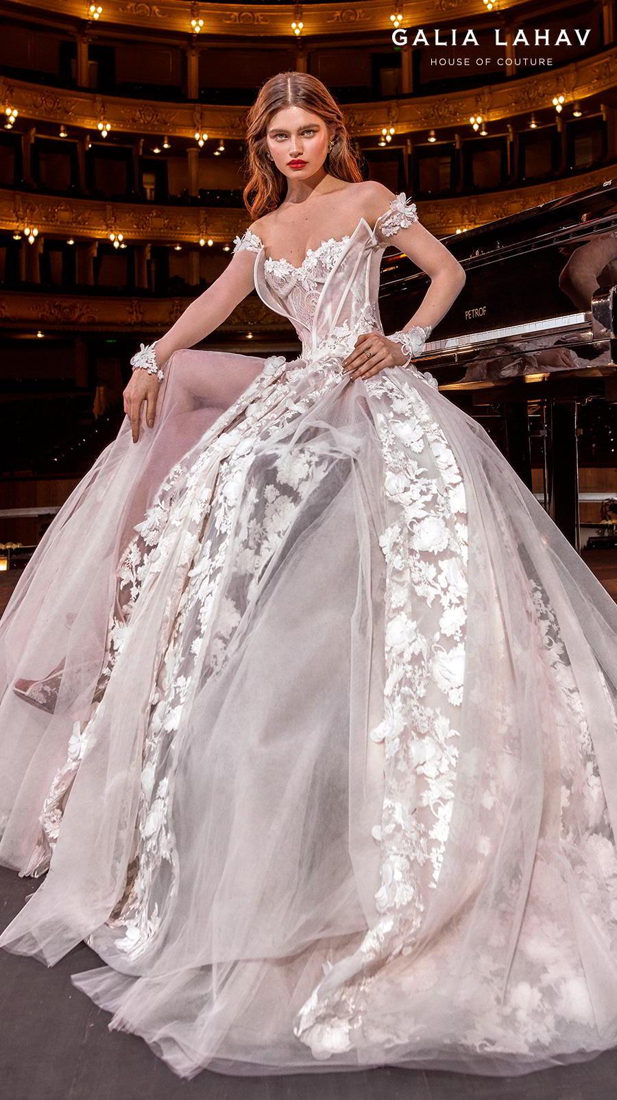 galia lahav s2020 couture bridal off the shoulder sweetheart neckline full embellishment bustier princess ball gown a  line wedding dress mid back chapel train (gaga) zv