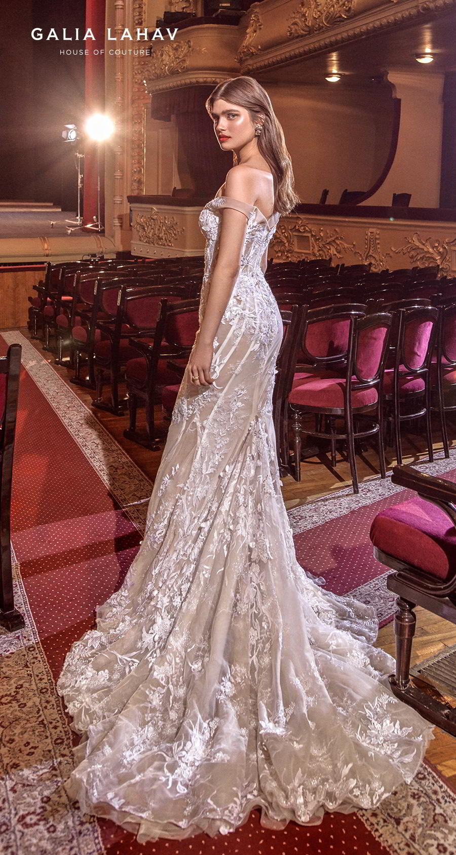 galia lahav s2020 couture bridal off the shoulder sweetheart neckline full embellishment glamorous fit and flare mermaid wedding dress medium train (serena) bv