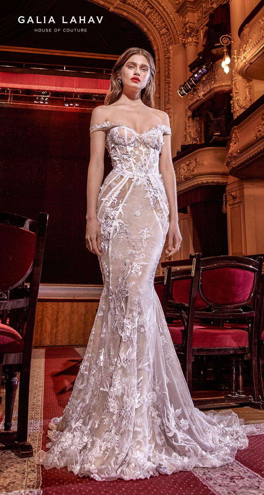 galia lahav s2020 couture bridal off the shoulder sweetheart neckline full embellishment glamorous fit and flare mermaid wedding dress medium train (serena) mv