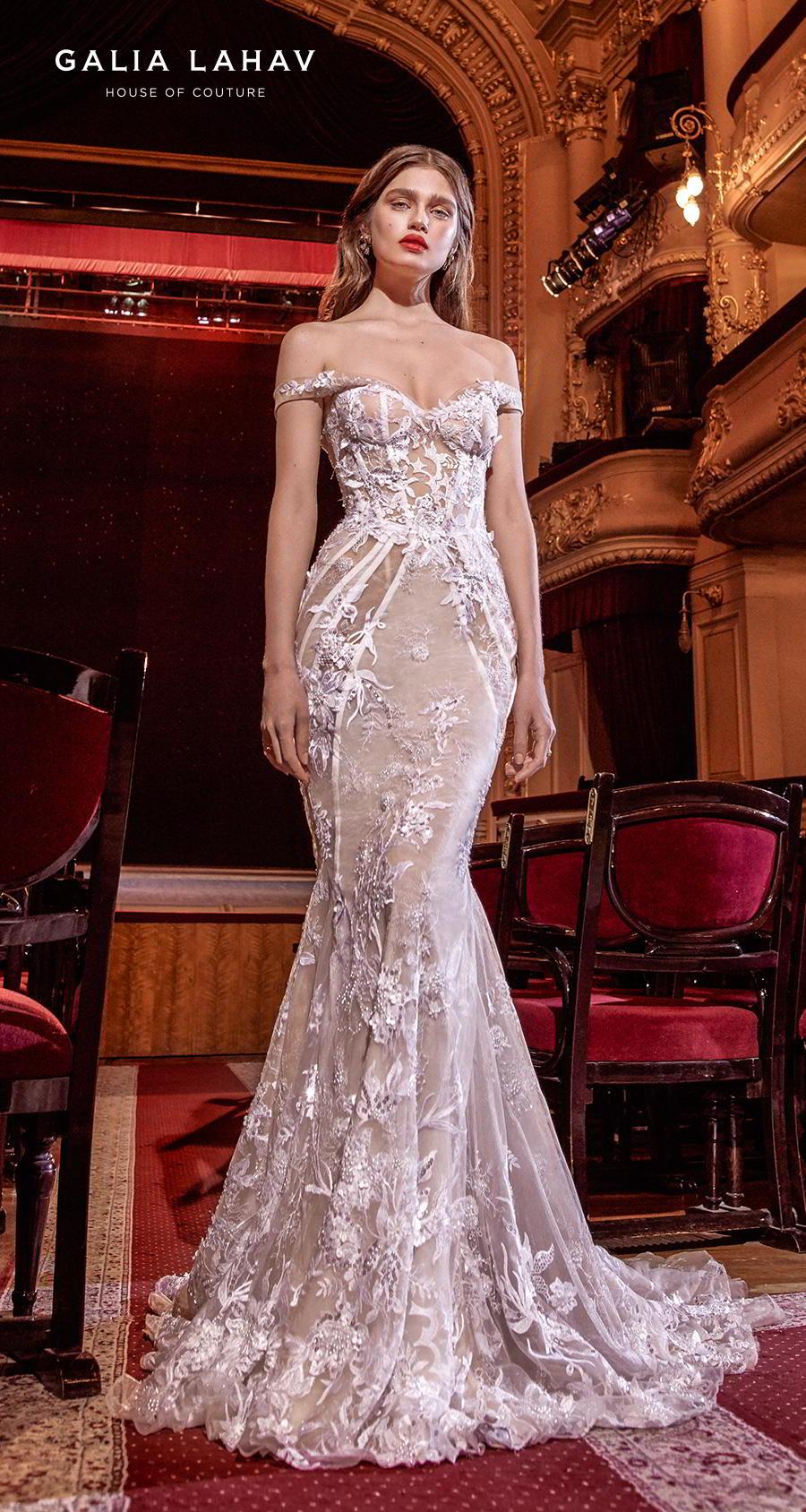 galia lahav s2020 couture bridal off the shoulder sweetheart neckline full embellishment glamorous fit and flare mermaid wedding dress medium train (serena) mv