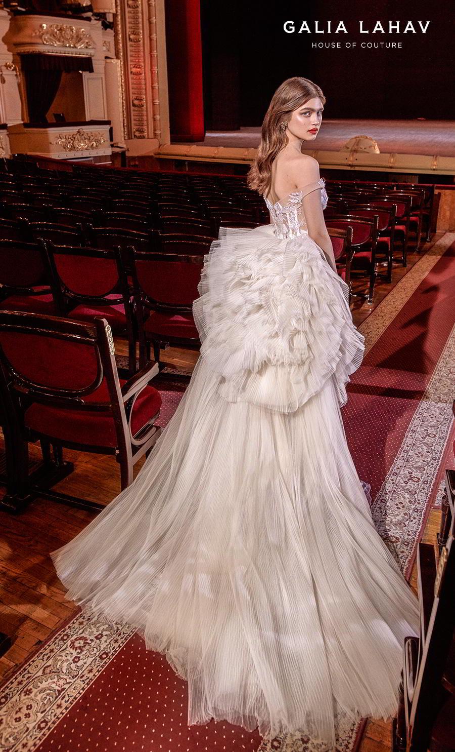 galia lahav s2020 couture bridal off the shoulder sweetheart neckline full embellishment glamorous fit and flare mermaid wedding dress ruffled hip chapel train (serena) bv