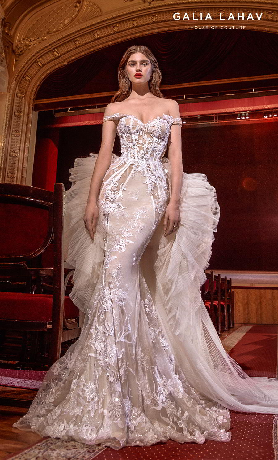 galia lahav s2020 couture bridal off the shoulder sweetheart neckline full embellishment glamorous fit and flare mermaid wedding dress ruffled hip chapel train (serena) mv