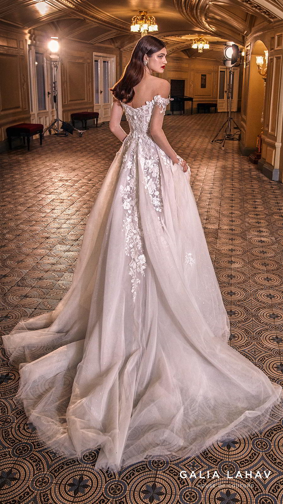 galia lahav s2020 couture bridal off the shoulder sweetheart neckline heavily embellished bodice bustier romantic princess a  line wedding dress mid back chapel train (lynn) bv