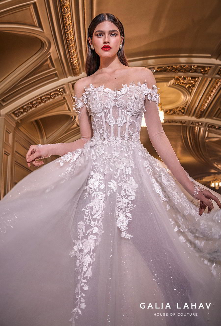 galia lahav s2020 couture bridal off the shoulder sweetheart neckline heavily embellished bodice bustier romantic princess a  line wedding dress mid back chapel train (lynn) zv