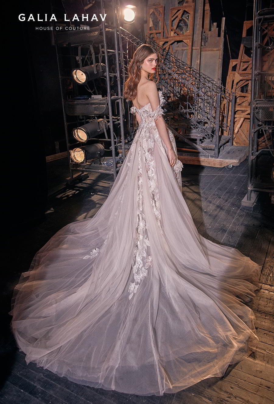 galia lahav s2020 couture bridal off the shoulder sweetheart neckline heavily embellished romantic blush a  line wedding dress mid back chapel train (kalia) bv