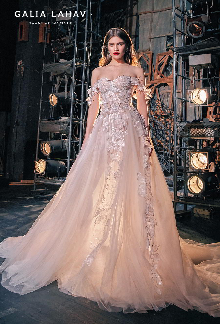 galia lahav s2020 couture bridal off the shoulder sweetheart neckline heavily embellished romantic blush a  line wedding dress mid back chapel train (kalia) mv