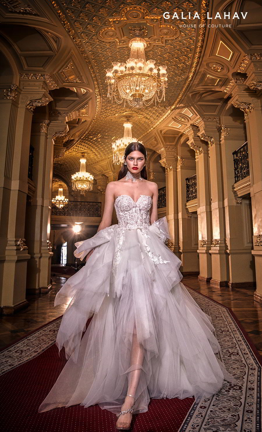 galia lahav s2020 couture bridal strapless sweetheart neckline heavily embellished bodice bustier ruffled skirt romantic a  line wedding dress mid back chapel train (alexa) mv