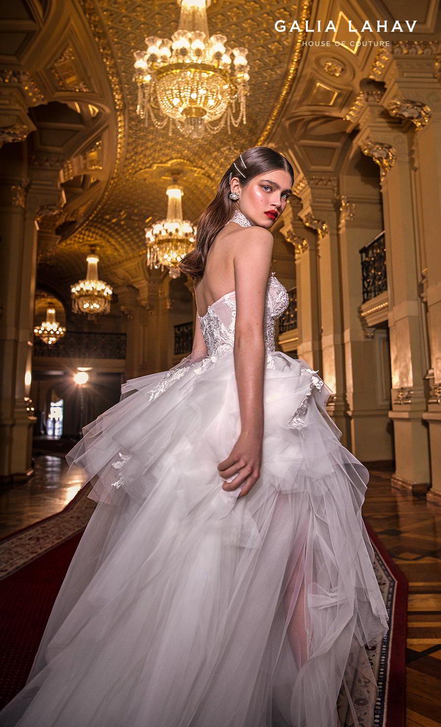 galia lahav s2020 couture bridal strapless sweetheart neckline heavily embellished bodice bustier ruffled skirt romantic a  line wedding dress mid back chapel train (alexa) zbv