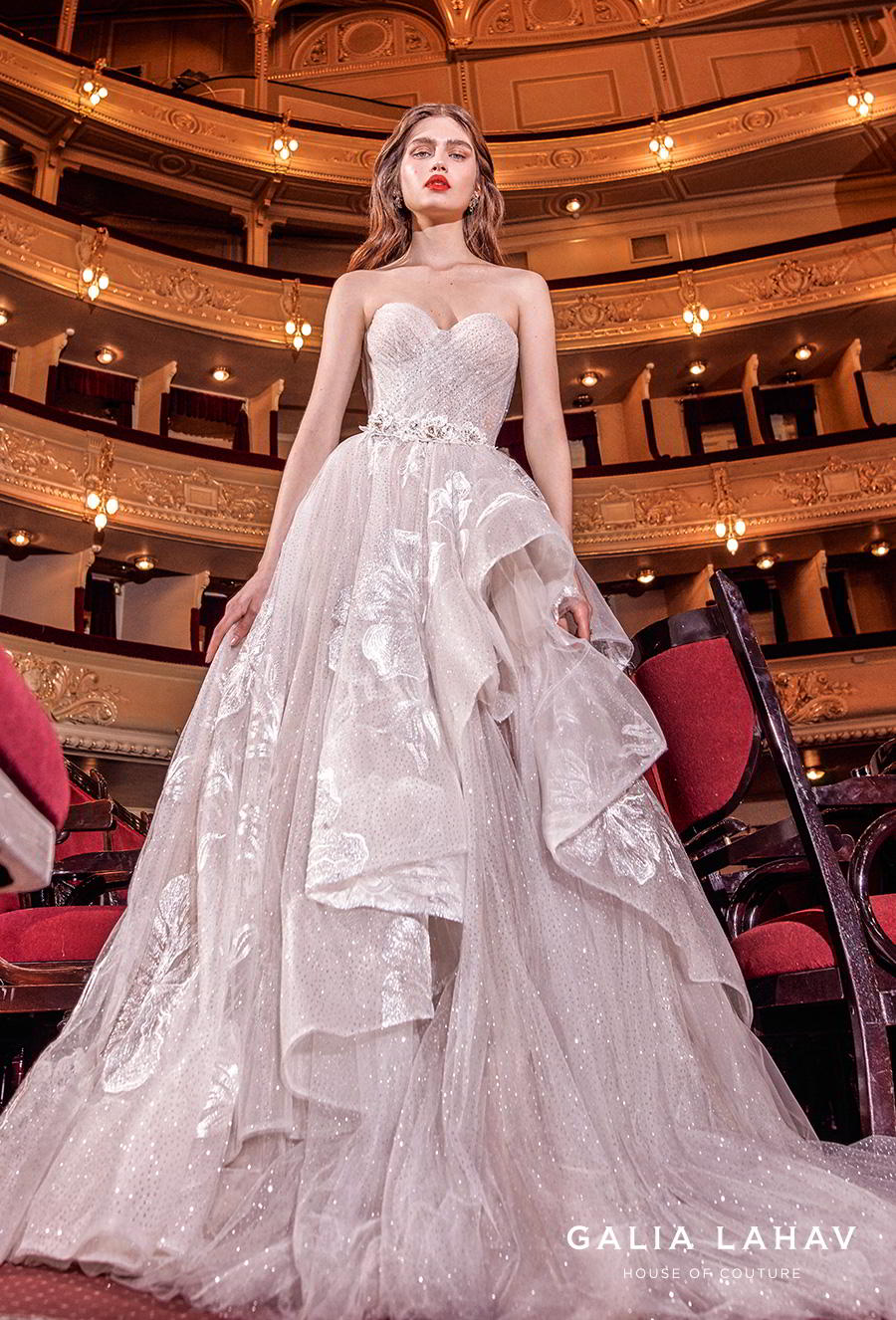 galia lahav s2020 couture bridal strapless sweetheart neckline ruched wrap over bodice layered skirt romantic blush a  line wedding dress mid back chapel train (aphrodite) mv