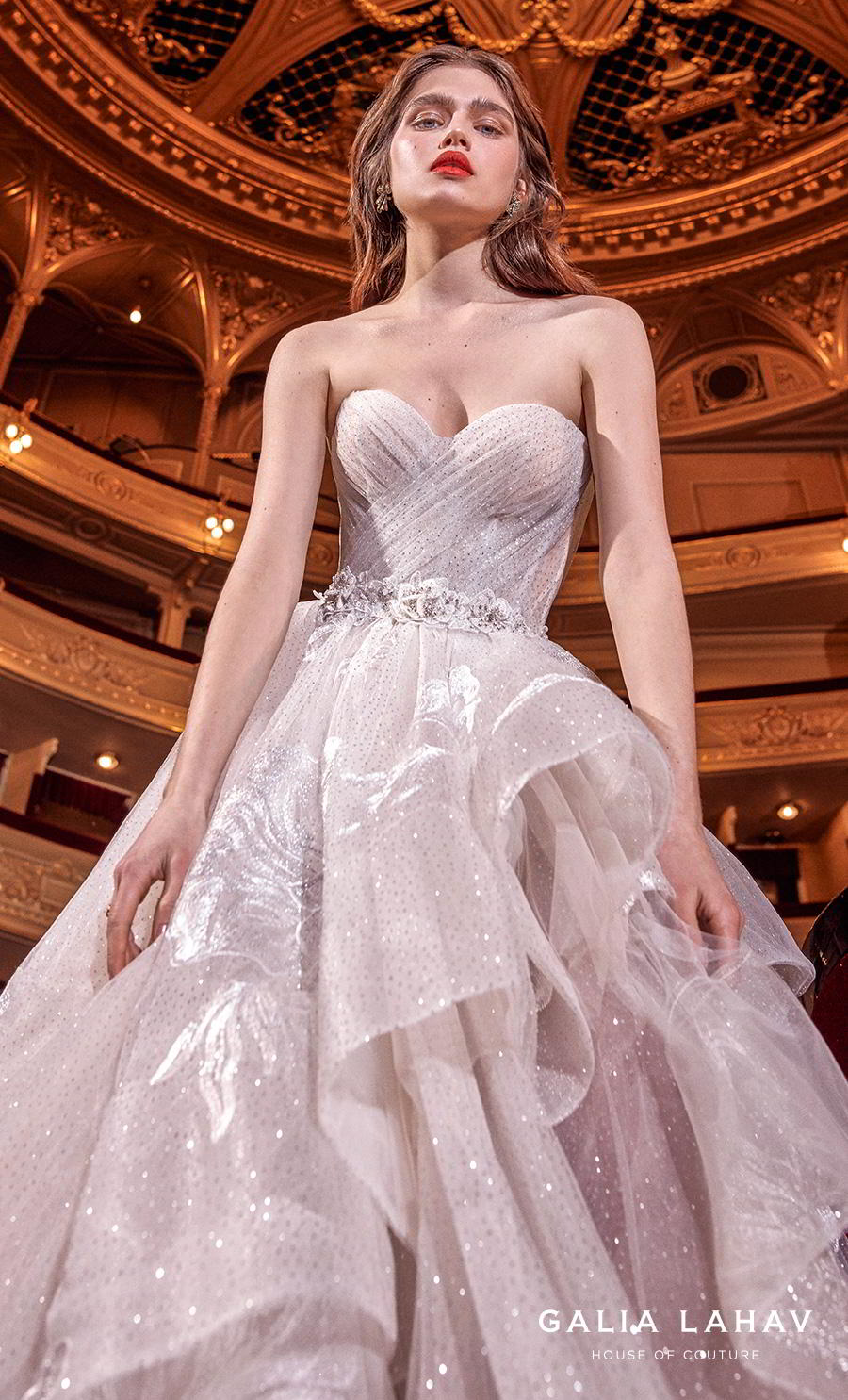 galia lahav s2020 couture bridal strapless sweetheart neckline ruched wrap over bodice layered skirt romantic blush a  line wedding dress mid back chapel train (aphrodite) zv