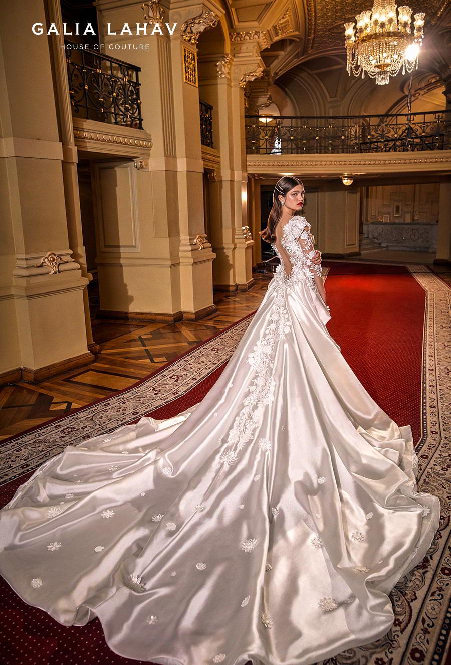 galia lahav s2020 couture bridal three quarter sleeves sweetheart neckline full embellishment elegant princess fit and flare wedding dress a  line overskirt low back chapel train (lindsay) bv