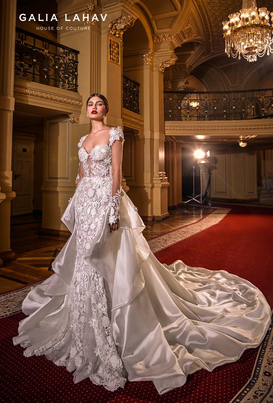 galia lahav s2020 couture bridal three quarter sleeves sweetheart neckline full embellishment elegant princess fit and flare wedding dress a  line overskirt low back chapel train (lindsay) mv