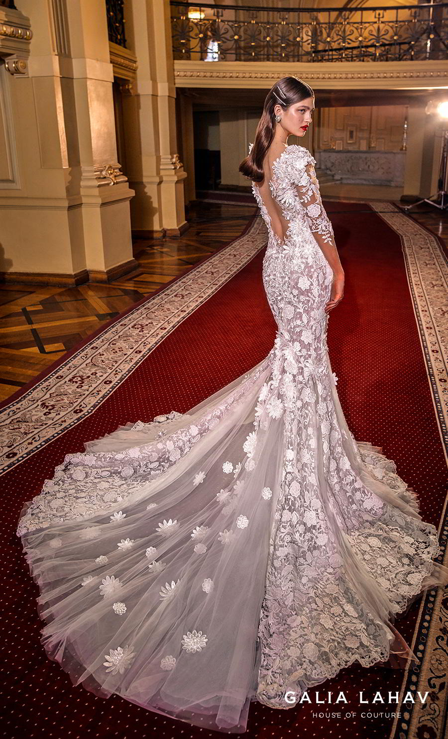 galia lahav s2020 couture bridal three quarter sleeves sweetheart neckline full embellishment elegant princess fit and flare wedding dress backless low back chapel train (lindsay) bv