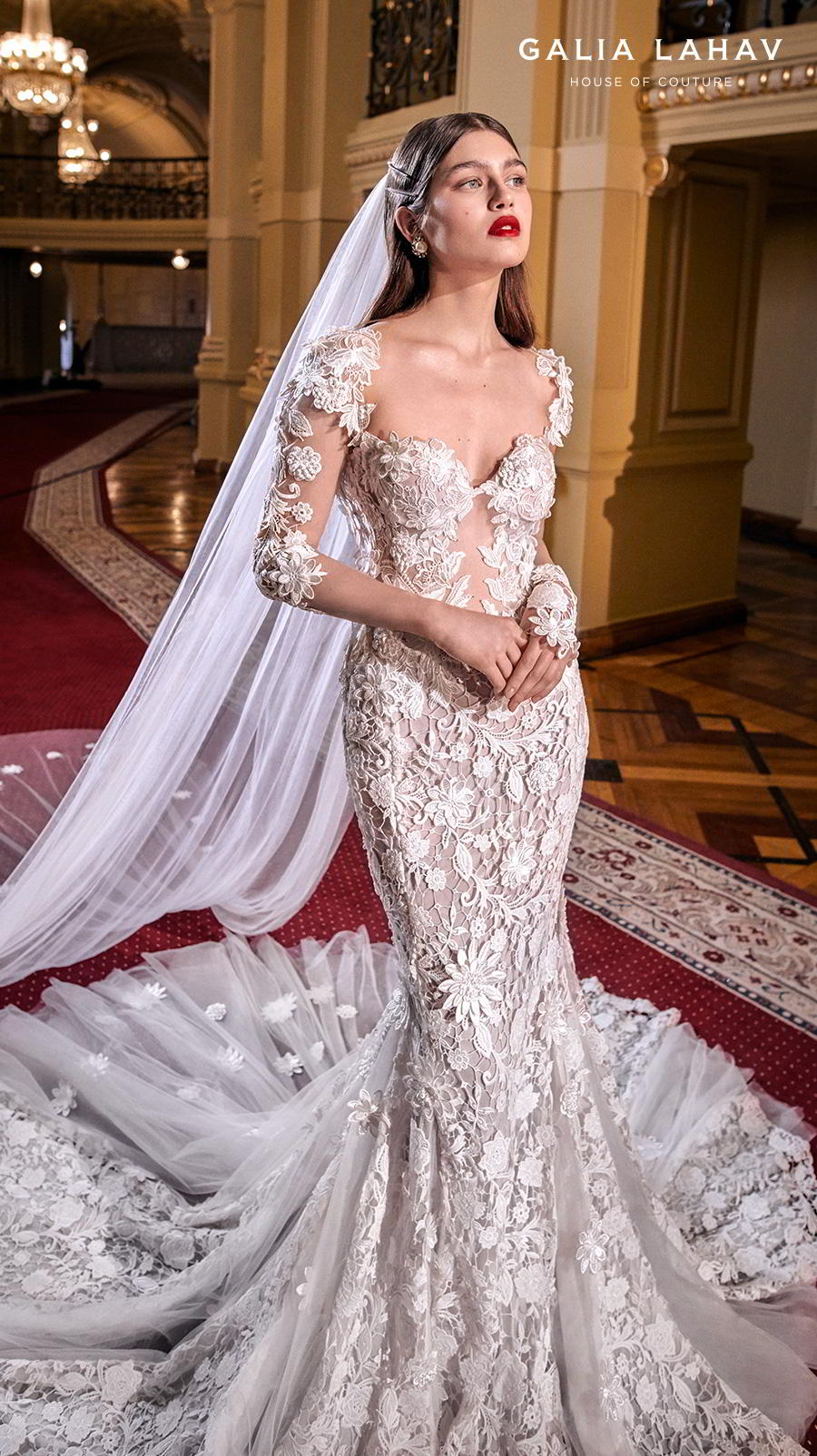 galia lahav s2020 couture bridal three quarter sleeves sweetheart neckline full embellishment elegant princess fit and flare wedding dress backless low back chapel train (lindsay) mv