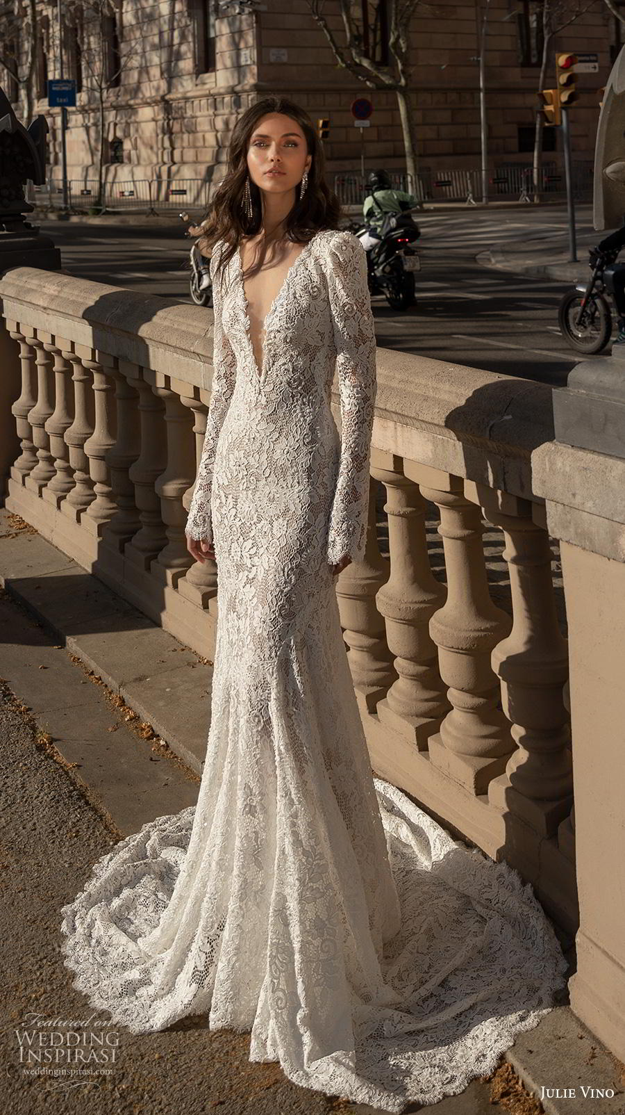 julie vino 2020 barcelona bridal long sleeves deep v neck full embellishment elegant fit and flare wedding dress backless low back medium train (6) mv