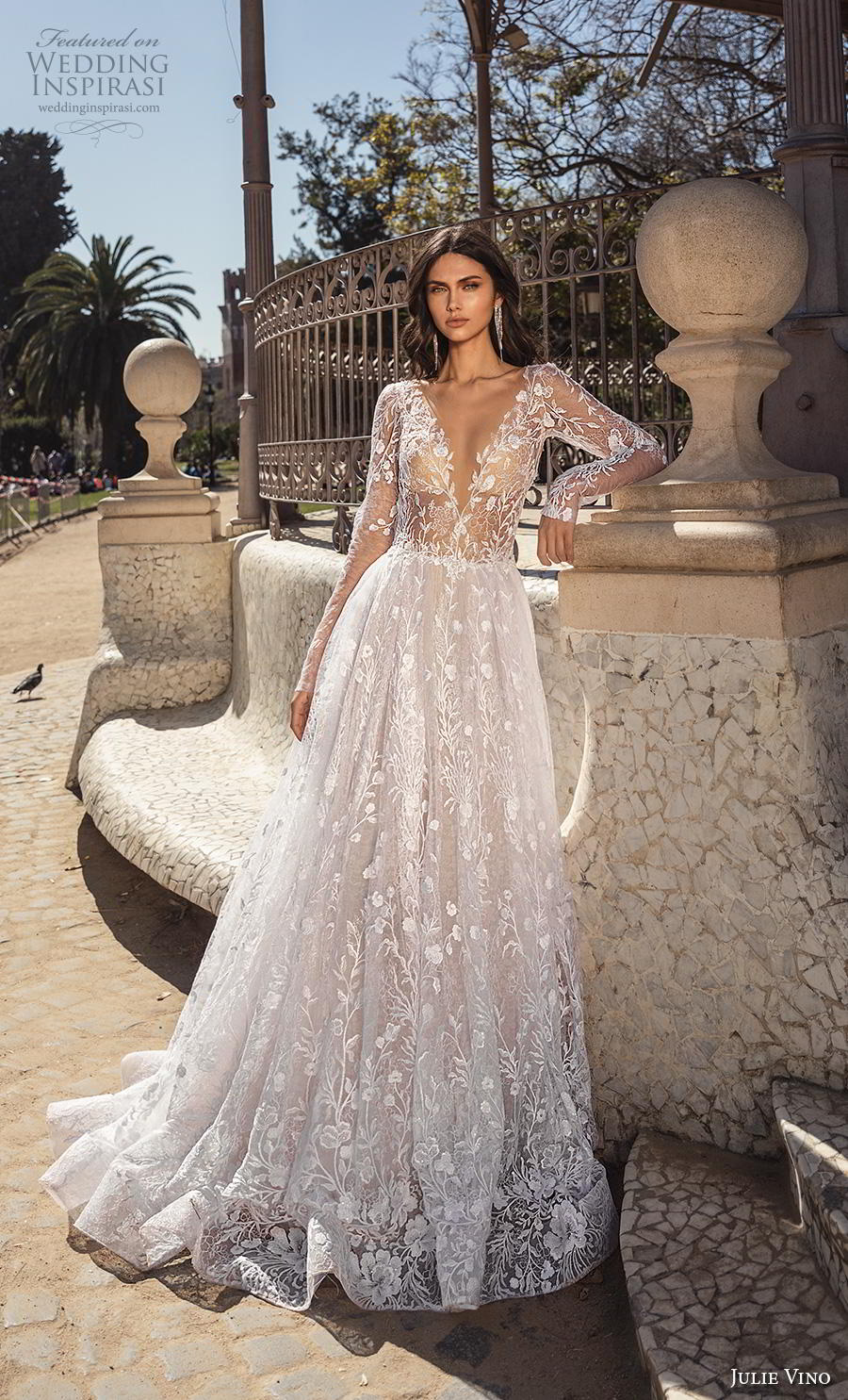 julie vino 2020 barcelona bridal long sleeves deep v neck full embellishment romantic a  line wedding dress backless low back chapel train (12) mv