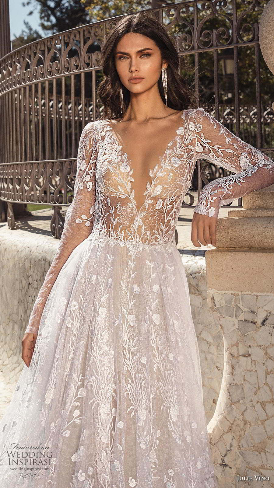 julie vino 2020 barcelona bridal long sleeves deep v neck full embellishment romantic a  line wedding dress backless low back chapel train (12) zv