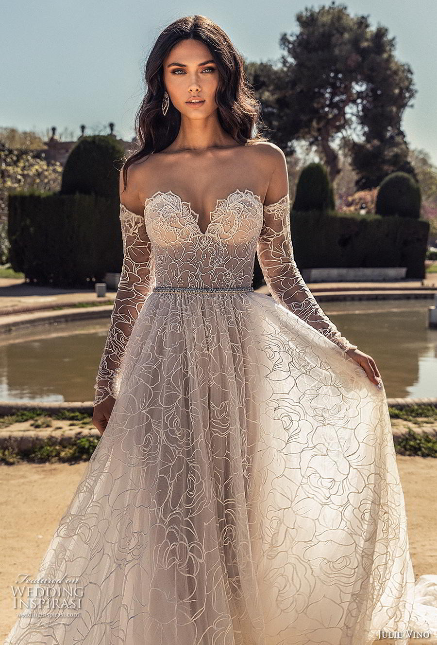 julie vino 2020 barcelona bridal long sleeves off the shoulder strapless sweetheart neckline full embellishment romantic soft a  line wedding dress backless chapel train (5) zv