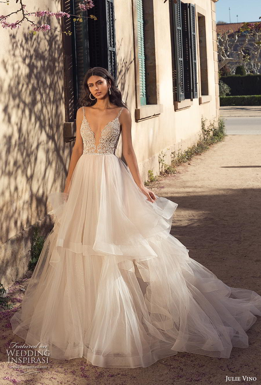 julie vino 2020 barcelona bridal sleeveless thin strap deep sweetheart neckline heavily embellished bodice tulle skirt romantic blush soft a  line wedding dress keyhole back royal train (2) mv